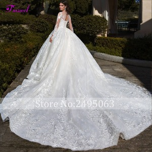 Image 2 - Glamorous Long Sleeve Appliques Chapel Train Ball Gown Wedding Dress 2020 Luxury Beading Scoop Neck Lace Up Princess Bridal Gown