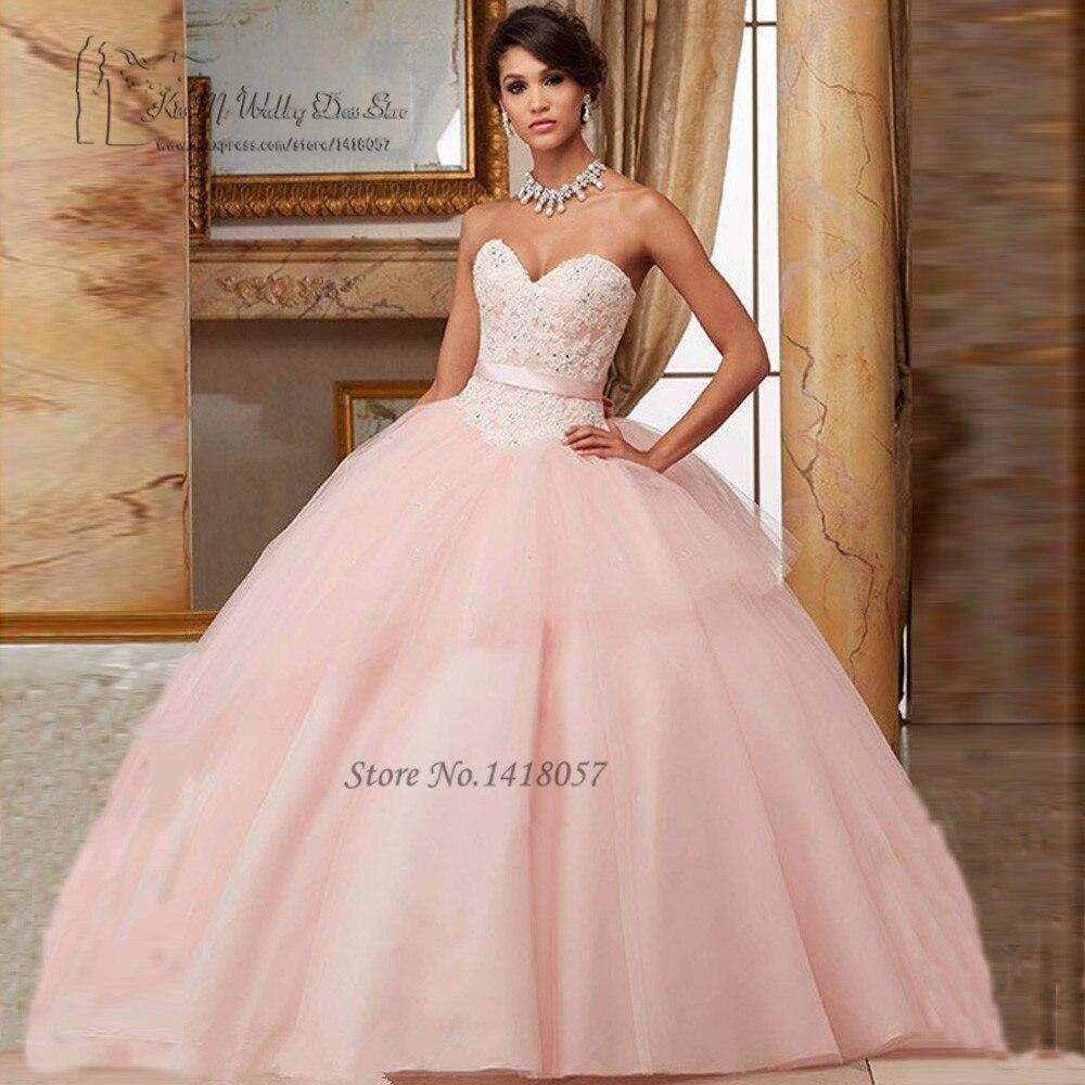 2017 pas cher Quinceanera robes rose dentelle robes de 15 Anos doux 16 robes Quineanera Debutante robes de bal mascarade