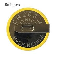Rainpro 5 unidades/lote, CR2032 2032, con pie de soldadura, 210mAh, 3V, pila de botón de ion de litio