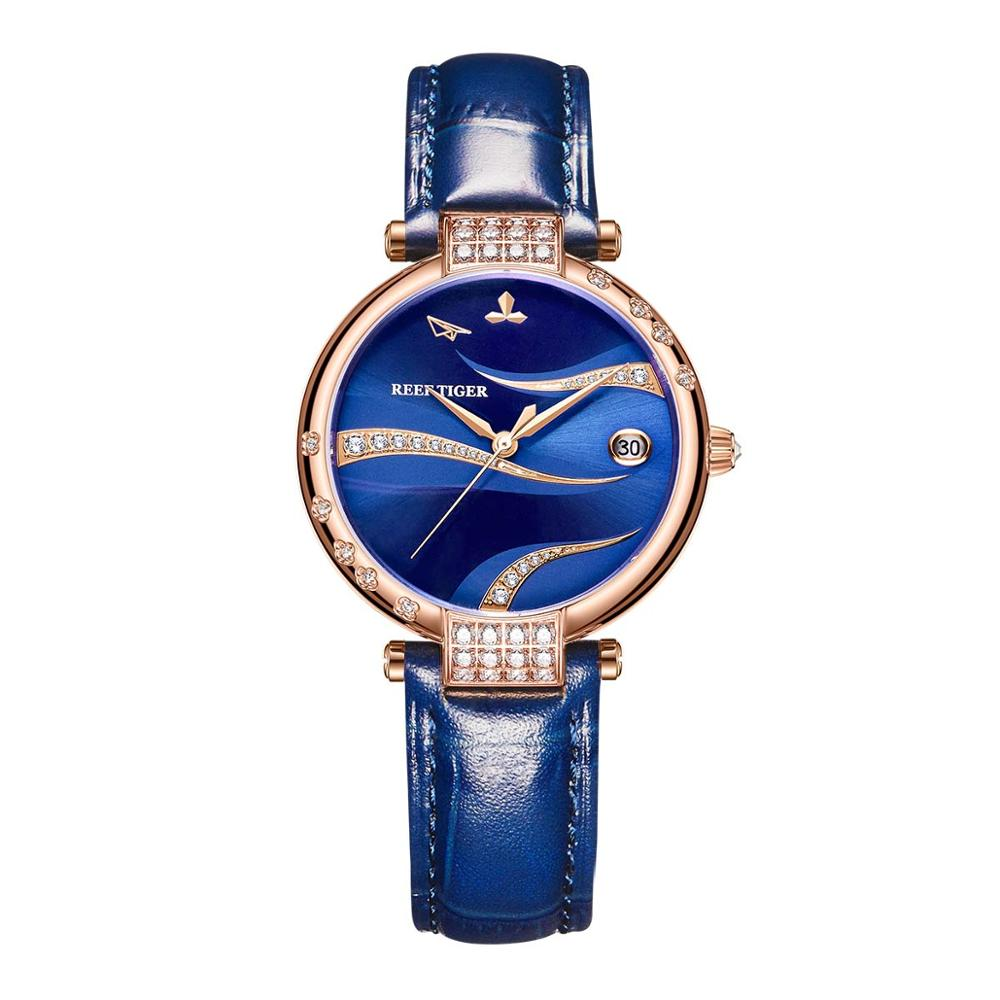 Reef Tiger/RT New Arrival Women Fashion Watch Blue Dial Automatic Diamonds Rose Gold Case Leather Buckle RGA1589