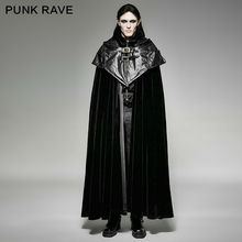 PUNK RAVE Mens Caps Fashion Vintage Black Rock Steampunk Gothic Style Hoodie Cape Long Coat Jacket Men Jackets Stage Performance
