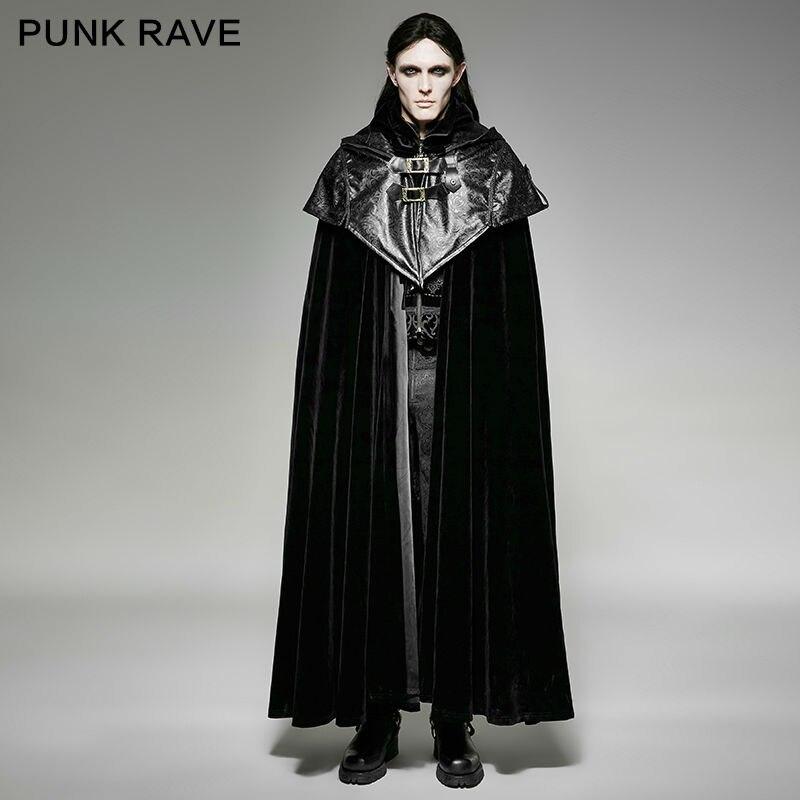 PUNK RAVE Mens Caps Mode Vintage Noir Rock Steampunk Gothique Style À Capuche Cape manteau long Hommes Vestes Stade Performance