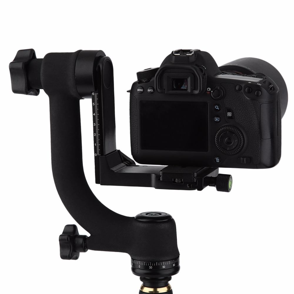 OXA Practical 360 Degree Panoramic Gimbal Tripod Head for Digital SLR Camera with Quick Release Plate Bubble Level