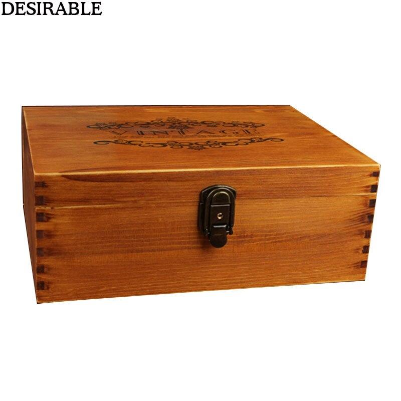 1 pièces bois massif Vintage grande boîte à bijoux souvenir étui précieux Photo lettre beaux souvenirs rétro boîtes de rangement avec serrure