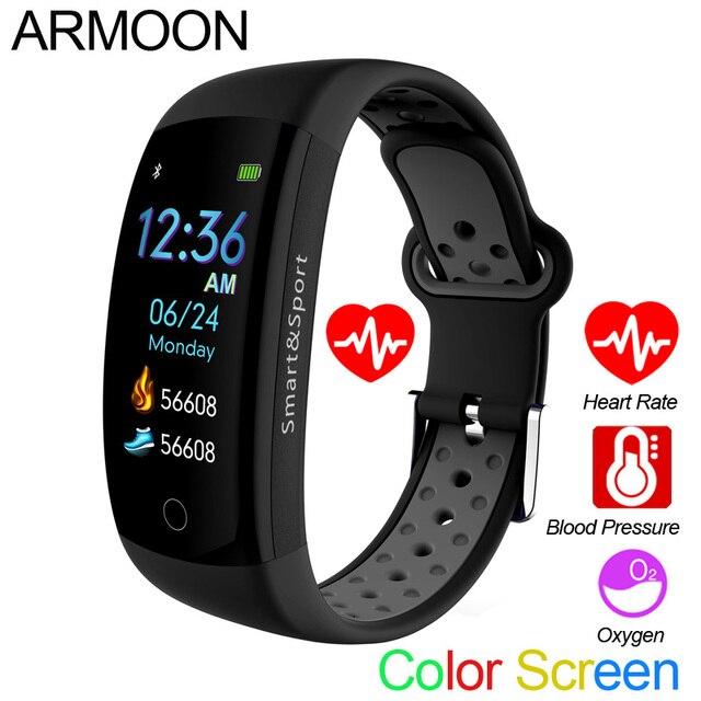 e1552fb61e43 Banda inteligente Q6S Corazón de pulsera inteligente sueño Monitor de  presión arterial Fitness Tracker pantalla a