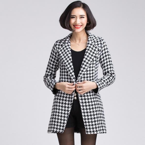 Manteau laine femme noir et blanc