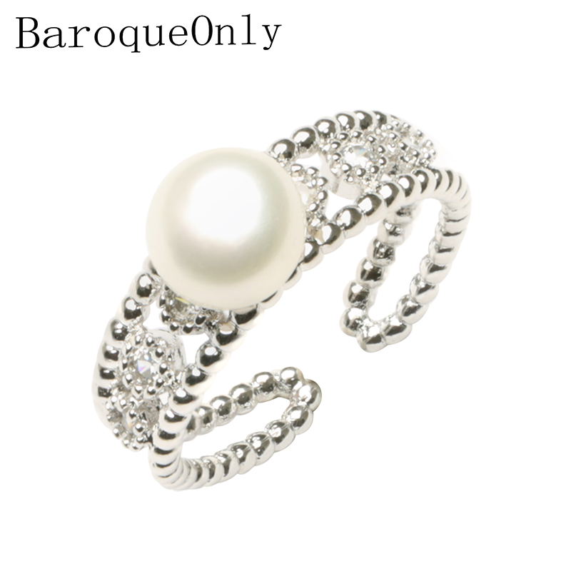 BaroqueOnly Fine Round Rings 925 Sterling Silver Ring Natural Pearl Multi Color Jewelry Adjustable Rings Zirconia  For Women RAW