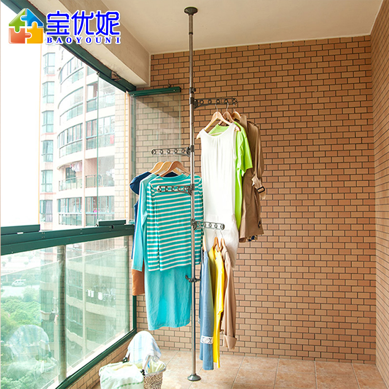 balcony single rod racks lift telescopic hanger indoor stainless steel rods easy clothes drying racksin laundry products from home u0026 garden on