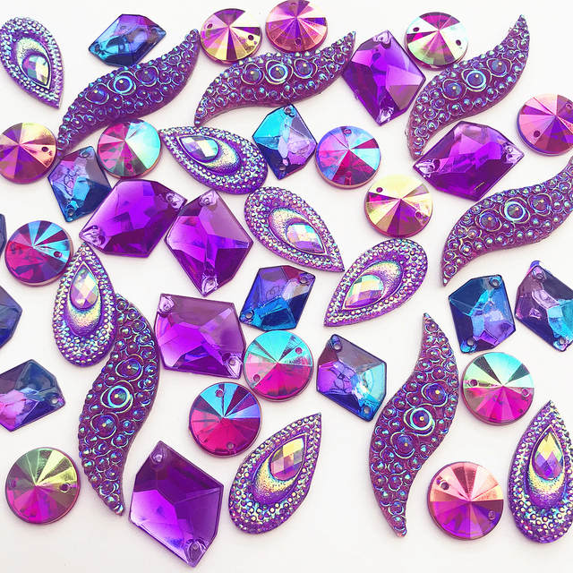 57ff19fa72 US $8.16 5% OFF|MIX Mixed Shapes Mirror Purple AB Gems Sew On Rhinestones  Crystal Stone Beads for Crafts Clothing Wedding Dress Decorations 90PS-in  ...