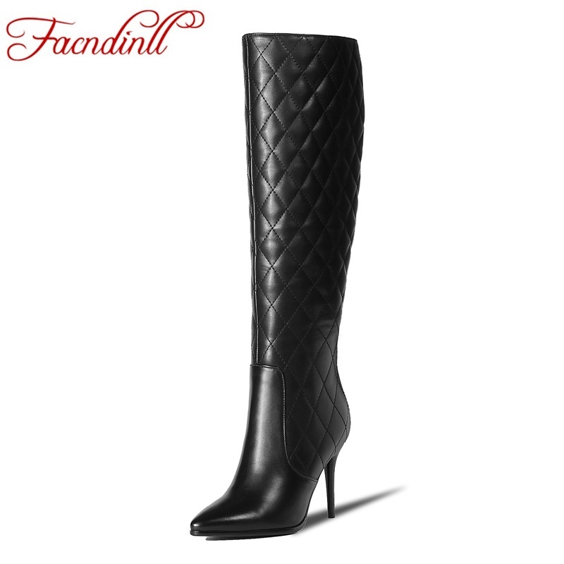 FACNDINLL new fashion women long boots genuine cow leather pointed toe shoes woman sexy high thin heels women knee high boots facndinll women knee high boots leather winter boots pointed toe zip casual shoes women high heels size 32 45 black boots woman