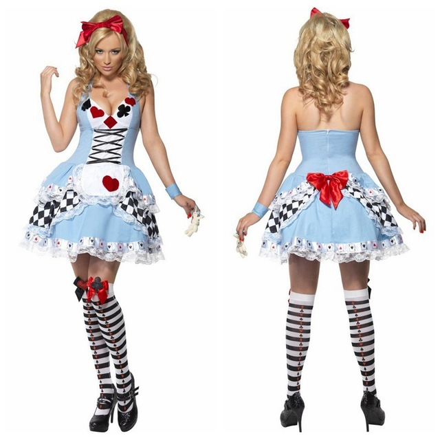 Women Girls Alice in Wonderland Dress Cosplay Halloween Party Costumes halloween costumes for women