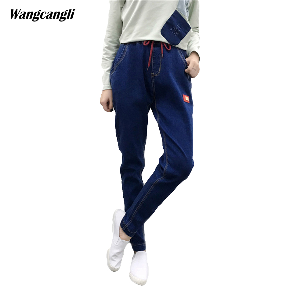 jeans women black blue large size XL 5XL fat sister woman stretch cowboy elastic waist harem pants decoration patches wangcangli wangcangli jeans women shorts light blue large size denim fat sister elastic waist mid waist jeans moustache effect summer 4xl