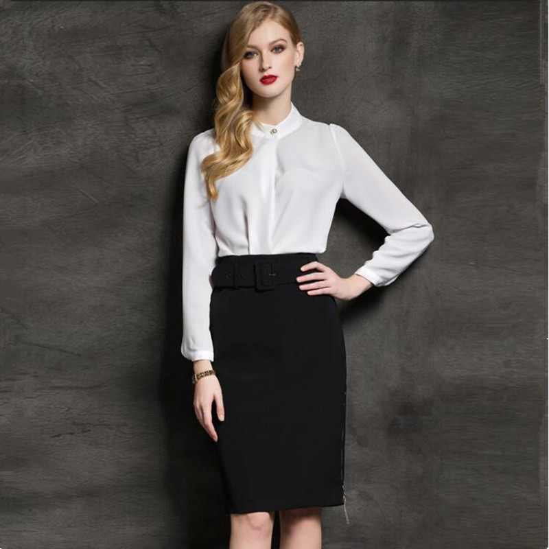 Women Set Long Sleeve Luxury Blouse Top Midi Pencil Skirt Suits Office Lady Elegant Formal Business Work Wear Two Pieces Outfits