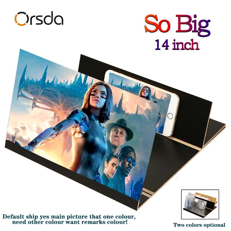 AMPLIFICADOR DE PANTALLA universal Orsda 3d estereoscópico de 14 pulgadas de moda de pantalla de teléfono móvil plegable para Xiaomi Samsung Huawei Apple