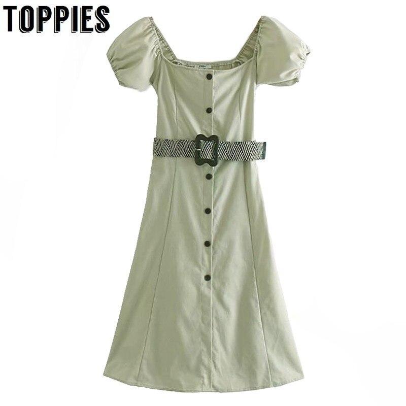 9cdd28be7c26 Vintage verde cuello cuadrado botón vestido largo mujer elegante hebilla  cinturón fiesta vestido ...