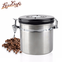Coffee Bean Sealing Can 304 Stainless Steel with Exhaust Valve Tea leaves Dry Grain Fruit Milk Coffee Powder Kitchen Storage Can