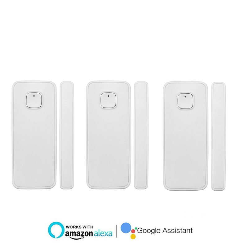 3pcs Home Safety Alarm System Wireless Burglar Alarm Magnetic Sensor APP Control Opening Sensor Compatible with Alexa
