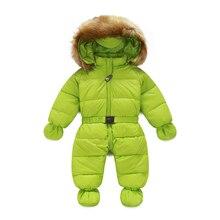 Ребенка детский зимний комбинезон большой raccon воротник мальчик девочка зимний верхней одежды наряды с капюшоном тепловой новорожденный детский зимний снег носите