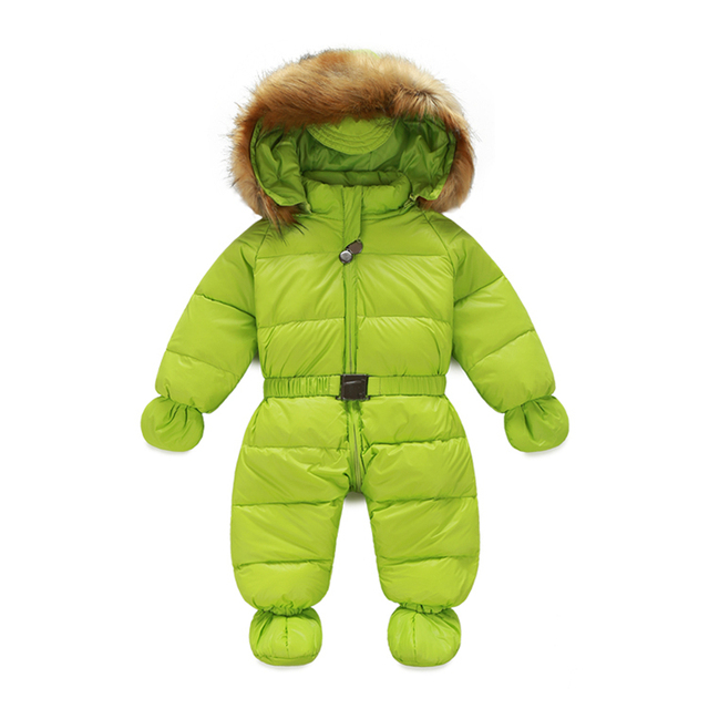 baby snowsuit large raccon collar baby boy girl winter outerwear outfits hooded thermal newborn baby snowsuit snow wear