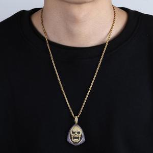 Image 4 - חדש אופנה אייס מתוך Skeletor תליון שרשרת עם טניס שרשרת נחושת היפ הופ זהב כסף צבע Mens/נשים קסם תכשיטי שרשרת