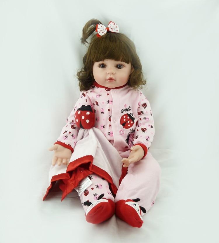 47cm soft real touch silicone boneca bebe doll reborn silicone reborn toddler baby dolls kids birthday