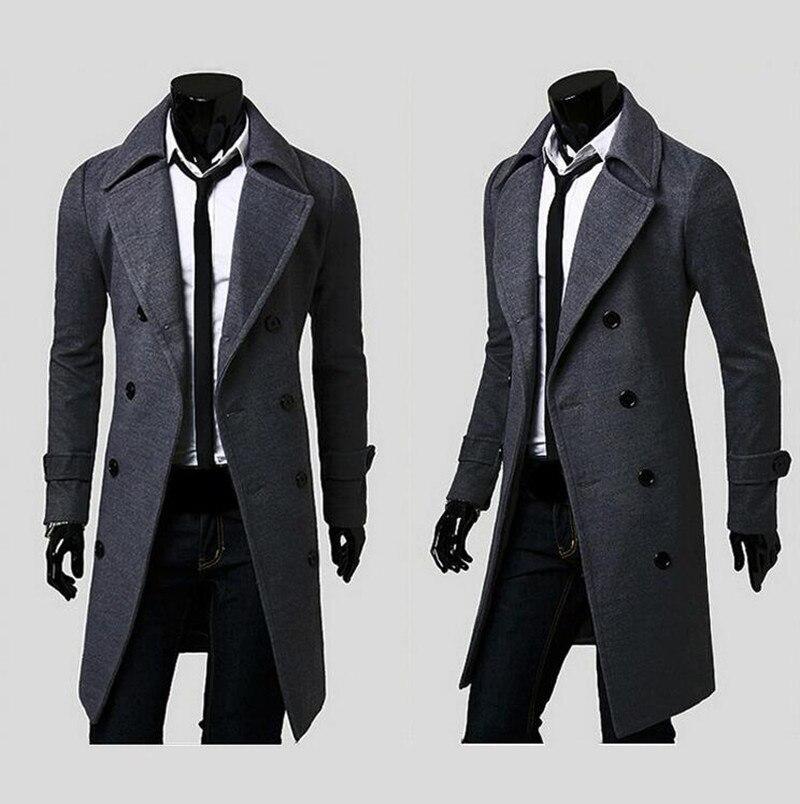 2016 Neue Modemarke Herren Wolle Warme Winter Mäntel Lange Mantel Männer Zweireiher Trenchcoat Slim Fit Winddicht Unten Jacke