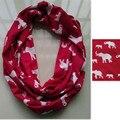 De punto de algodón jersey rojo blanco animal elefante anillo infinito de la bufanda mujeres bufandas círculo bufanda dst delta sigma theta regalo inspirado