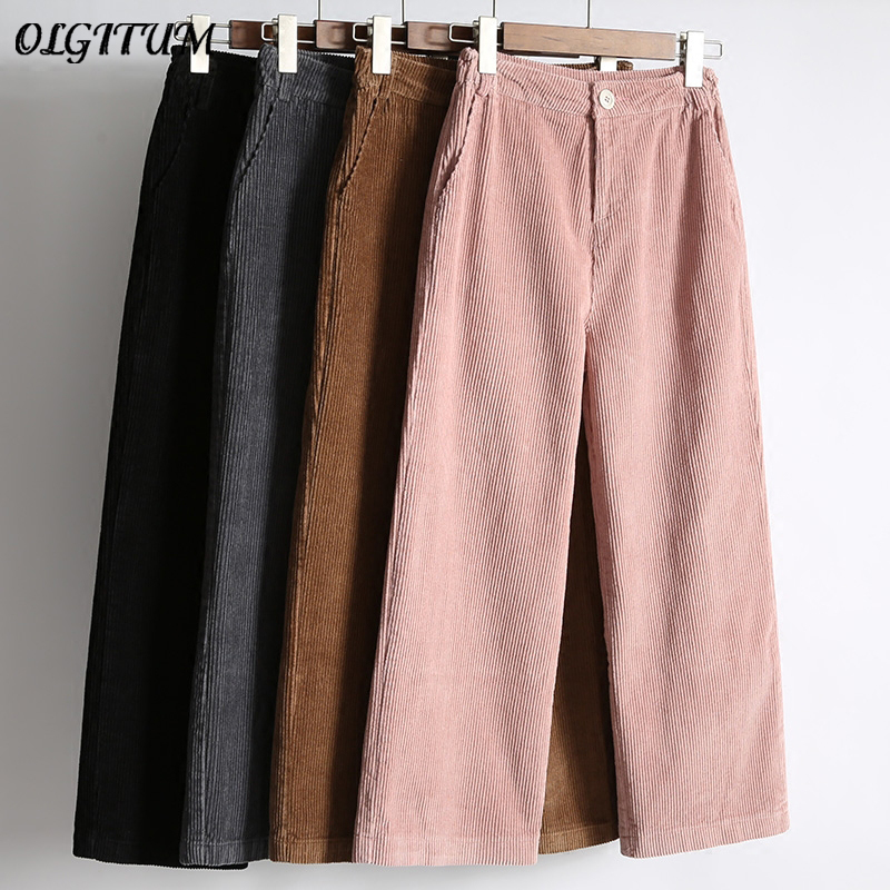 Women's   Pants   New 2019 Fall Winter Female High Waist Loose   Wide     Leg     Pants   Casual Ankle-Length   Pants   Corduroy Cropped Trousers