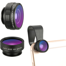 Professional Clip-on Cell Phone Camera Lens Kit for iPhone Samsung Smartphones 180 Degree Fish eye Lens Wide Angle Lens