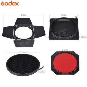 Image 3 - Godox BD 04 drzwi do stodoły + siatka o strukturze plastra miodu + 4 filtr kolorów do mocowaniem typu Bowen standardowy reflektor fotografia błyskanie studyjne akcesoria