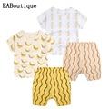 New Summer Clothing Set kid's boys girls Cartoon banana  pineapple Printing children t shirts+shorts Bright color retail