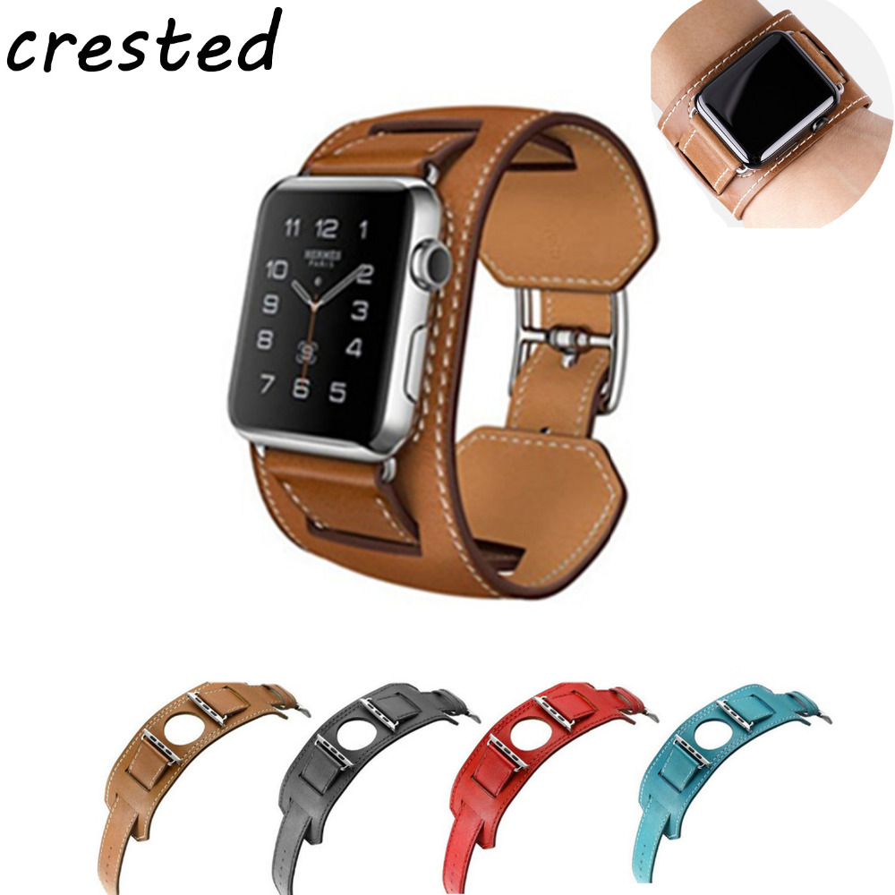 купить CRESTED Genuine leather strap for apple watch band 42 mm 38mm wrist Bracelet watchband for iwatch 3/2/1 replacement watch belt по цене 681.31 рублей