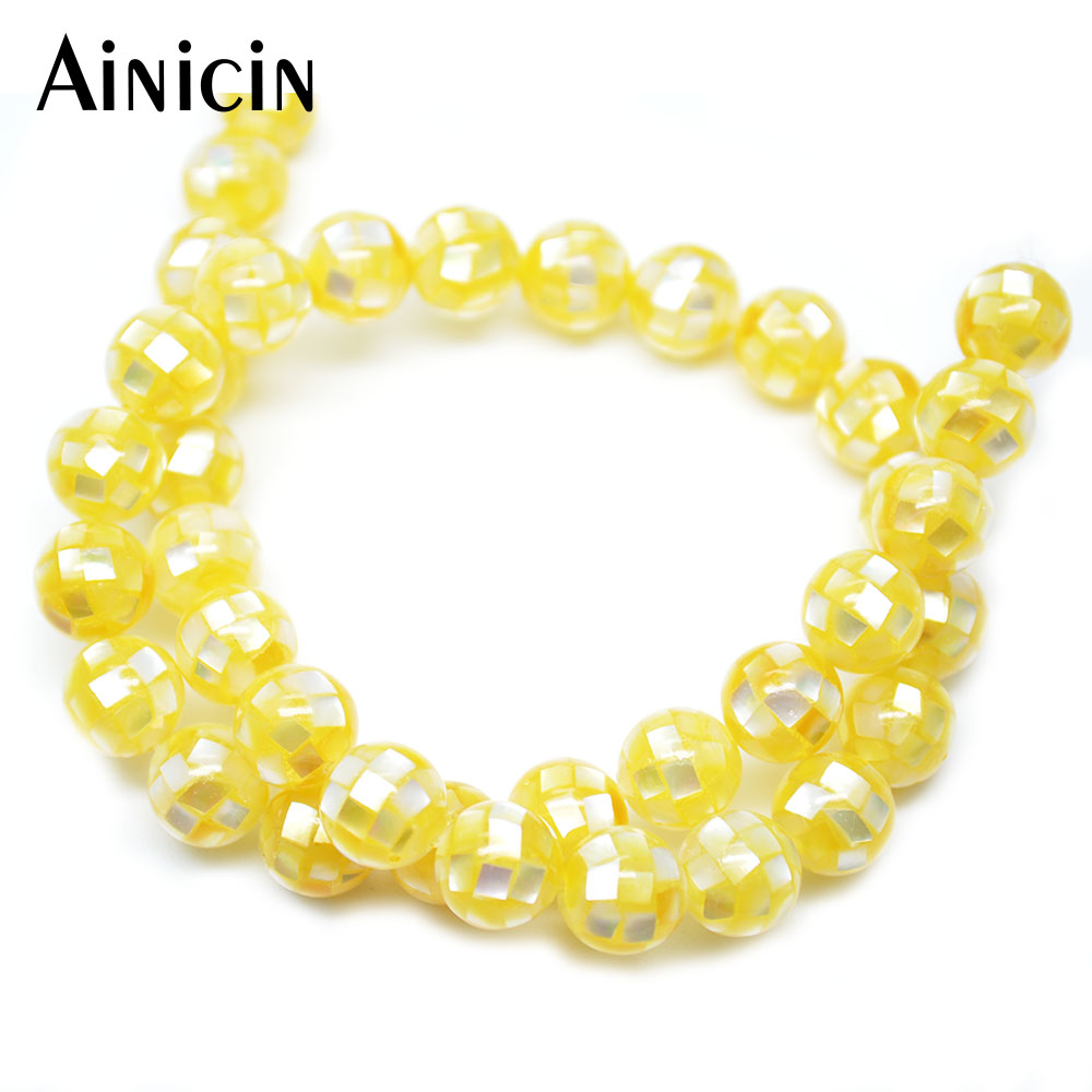 2pcs Yellow Color Shell Joint Round Shape 10mm DIY Jewelry Making 16 Inches Strand Loose Beads