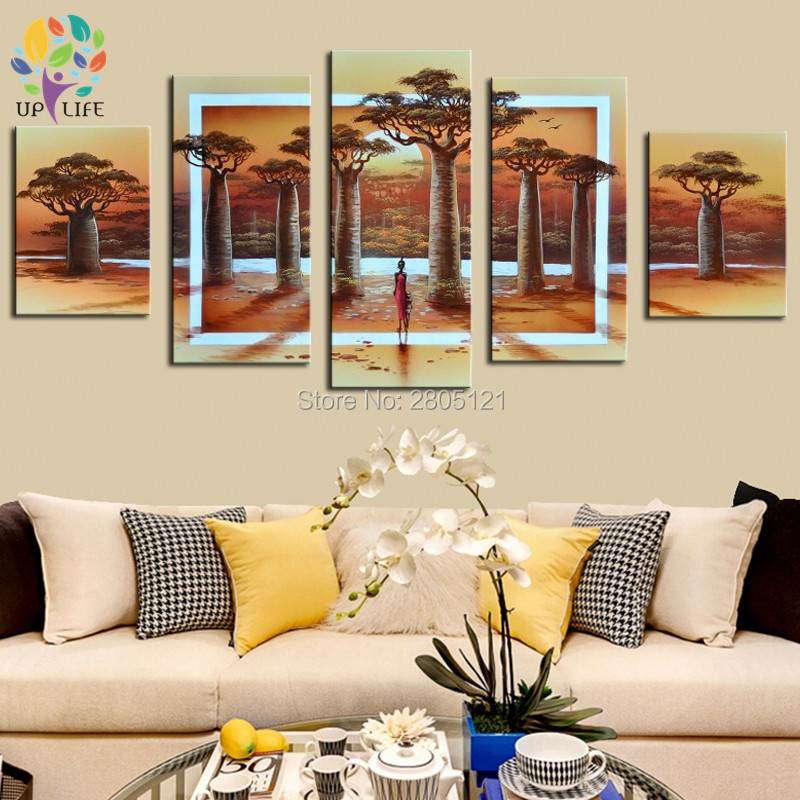 hand painted Combined Picture yellow Abstract Painting river Scenery view huge tree Canvas Wall Art 5 Pcs/Set living room decor ...