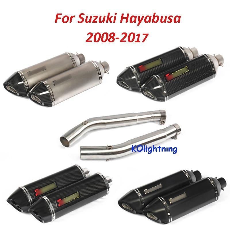 Motorcycle Exhaust Middle Mid Link Tube Slip on Muffler Exhaut System for Suzuki Hayabusa 2008-2017 цена