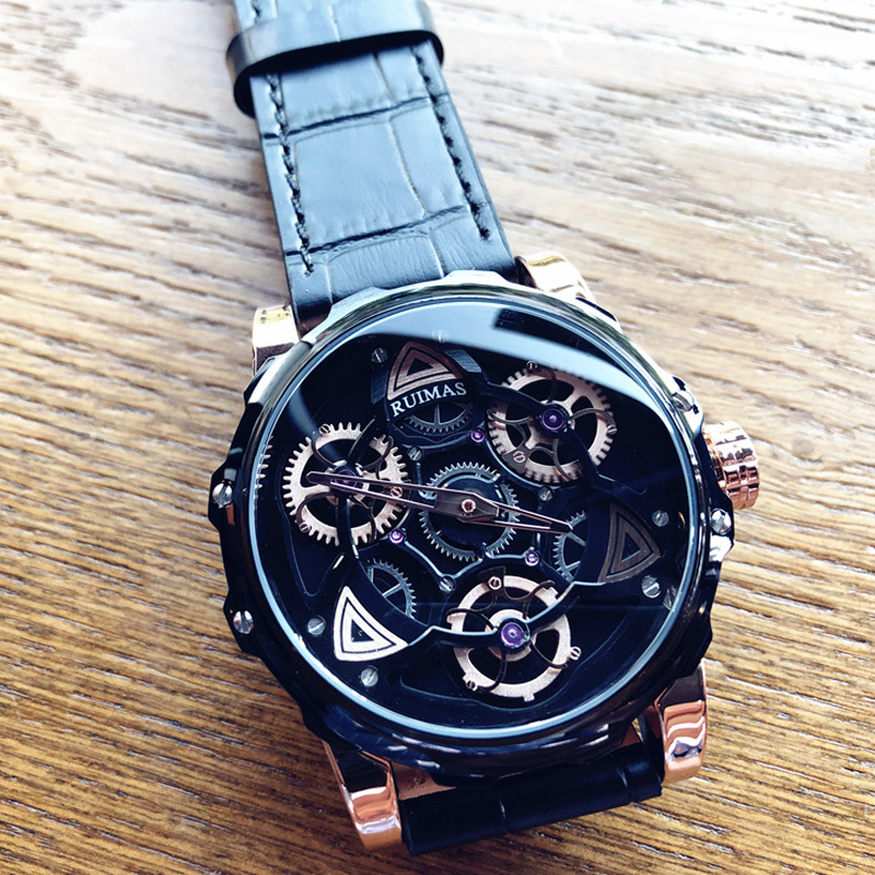 Cool Black Technology Men 39 s Watch Top Brand Luxury Fashion Waterproof Watch Leather Personality Large Dial Quartz Watch Students in Quartz Watches from Watches