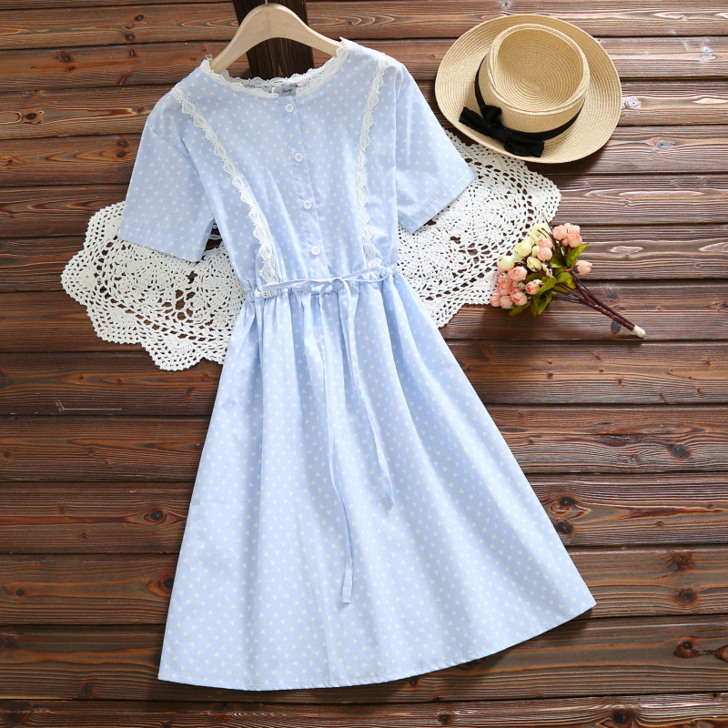 0ea883da502 9051  2018 Summer New Women Fashion Literary Cotton Short sleeved O neck  Plaid Dress Casual Dress Female Vestidos with Belt-in Dresses from Women s  Clothing ...