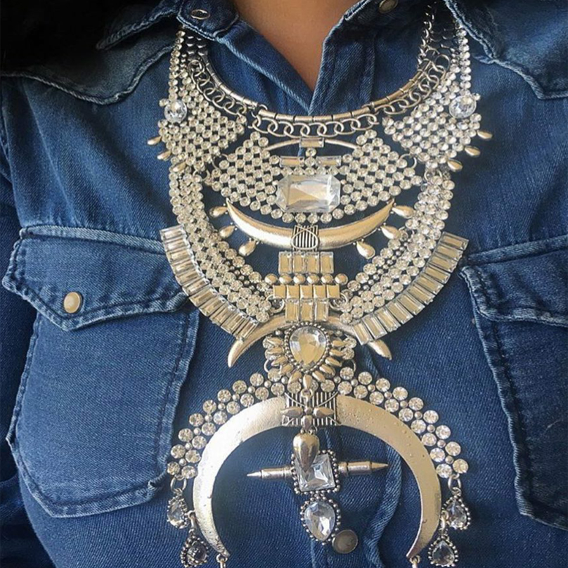 Best lady Newest Vintage Crystal Luxury DIY Combine Crystal Chain Pendant Femme Boho Maxi Bijoux Statement Facebook Necklace3471