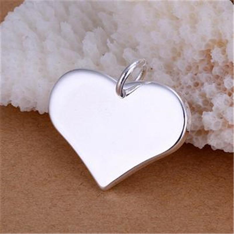 Módní šperky 925 mincovní přívěsky stříbrné srdce náhrdelníky jemné šperky pro ženy 2017 nový hladký přívěsek