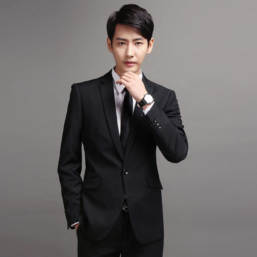 Factory custom men's suit qiu dong business suits white-collar men cultivate one's morality work career suits two-piece outfit pinli product made of cultivate morality even cap long cotton padded jacket zipper qiu dong outfit b173605400 male coat