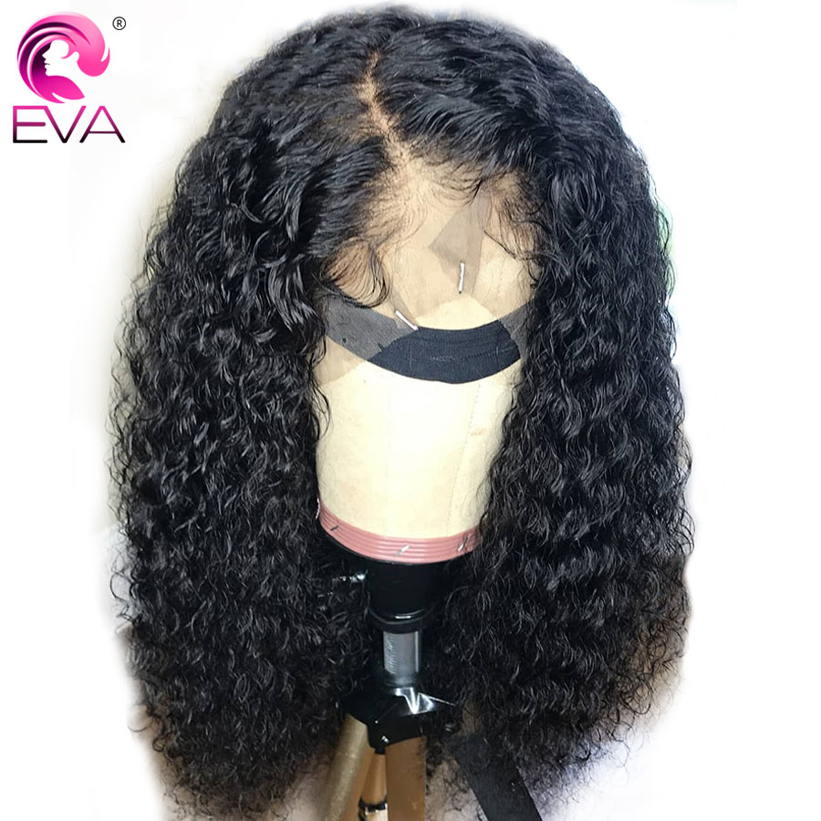 EVA 150% Density Silk Base Lace Front Human Hair Wigs Pre Plucked With Baby Hair Brazilian Remy Silk Top Curly Lace Front Wigs