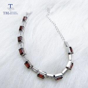 Image 3 - TBJ,925 en argent sterling éblouissant 5ct Mozambique rouge grenat haute qualité Bracelet bijoux fins pour les femmes avec boîte à bijoux