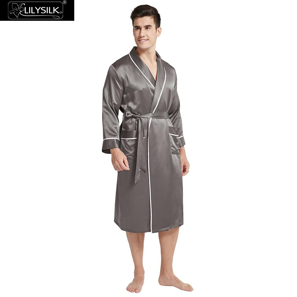 LilySilk Robe Sleepwear Men Pure 100 Silk 22 momme Luxury Natural Classic Long With Contrast Color