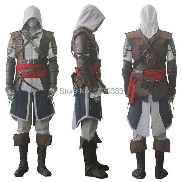 Assassin's Free shipping  Creed IV 4 Black Flag Edward Kenway Cosplay Costume Whole Set Custom Made Express Shipping