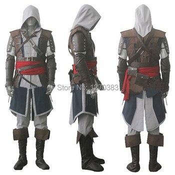 Trasporto libero di assassin's creed iv 4 black flag edward kenway cosplay whole set custom made trasporto espresso