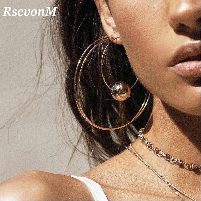 RscvonM, 4 Uds., pendientes clásicos de aro grandes de cobre de 60mm de diámetro, joyería de moda, pendientes llamativos para mujer, Brincos Punk 2018