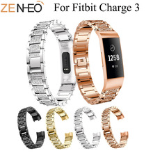 For Fitbit Charge 3 Wrist New Fashion Luxury Watch Band Bling Rhinestone Metal Bracelets Replacement Straps