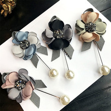 Korea Handmade Modern Flower Simulated Pearl Brooches Pins Badges Fashion Jewelry For Woman Suits Accessories-YHGWBH001F