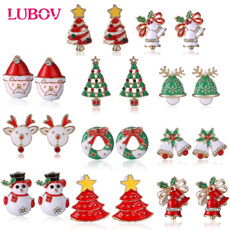 Christmas Earrings Santa Claus Studs Inlaid With Zircon For Women