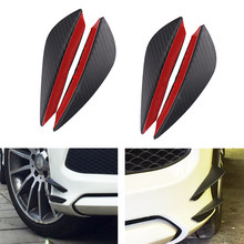 4Pcs/set Black Carbon Fiber Car Spoiler Canards Fit Front Bumper Lip Splitter Fin Air Knife Auto Body Kit Valence Chin Accessory(China)